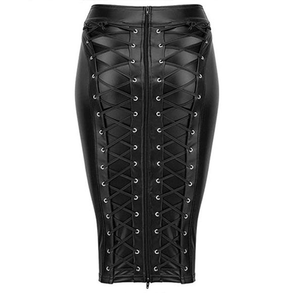 Womens Knee Length Wet Look Plus Size Black PU Leather Skirt 2019 Back Lace Up Zipper Bandage Bodycon Faux Leather Skirts Ladies
