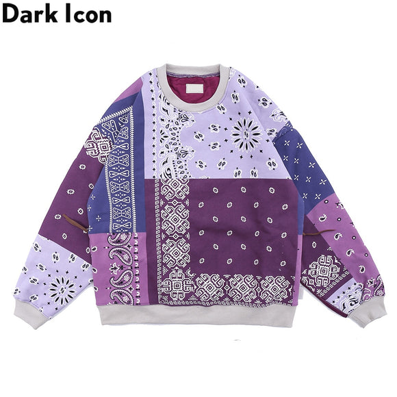 Dark Icon Bandana Patchwork Thick Sweatshirt Men Women Pullover Streetwear Men's Sweatshirts