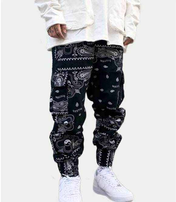 Bandanna Paisley Loose Fit Elastic Waist Pants Printed Side Pocket Ankle Pants Mens Casual Drawstring Sportwear Pants Joggers