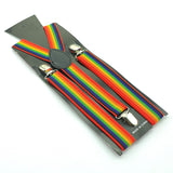Unisex Clip-on Suspenders Elastic Suspender Seven Color  Rainbow Stripe Pattern Elastic Y-back Suspenders