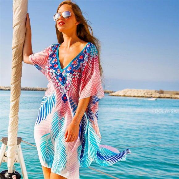 2020 Boho Cotton Dress Tunic Beach Coverups for Women Pareo de Plage Swimsuit Cover up Beach Sarongs Swimwear Kaftan Beach #Q801
