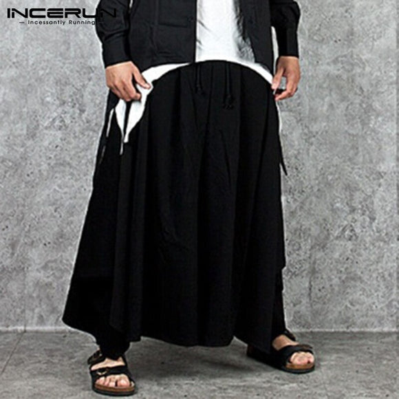 Fashion Men Wide Leg Pants Solid Joggers Streetwear 2020 Punk Baggy Pleated Pants Casual Drawstring Harem Trousers Men INCERUN