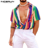 Summer Colorful Striped Men Shirt Lapel Streetwear Blouse Casual Loose Short Sleeve Fashion Hawaiian Beach Shirts INCERUN 2021