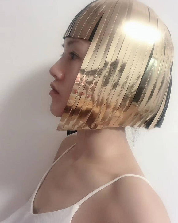 Cleopatra metallic wig hairdress in chrome or gold egyptian goddess wig bob hairpiece bobcut headpiece