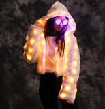 Illuminating White Fur Hoodie Coat Multi-Color LED