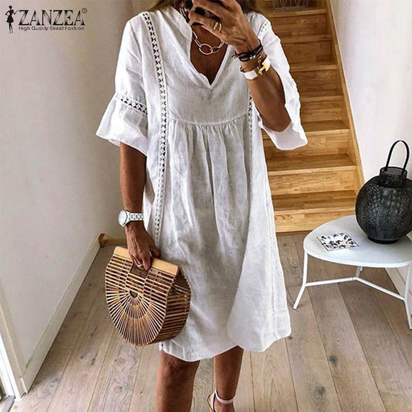 ZANZEA 2021  Summer Lace Dress Women's Sundress Fashion Flare Sleeve Short Vestido Female Bohemian V Neck Party Shirt Robe Femme