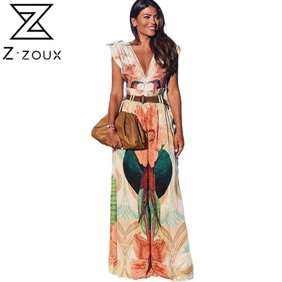 Women Pants Jumpsuit Deep V-neck Sleeveless Painted Print Romper