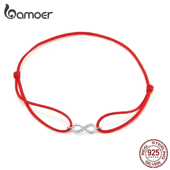 bamoer Infinity Simple Red Rope Friendship Bracelet 925 Sterling Silver Fashion jewelry Girl Gifts 2020 New Design SCB176