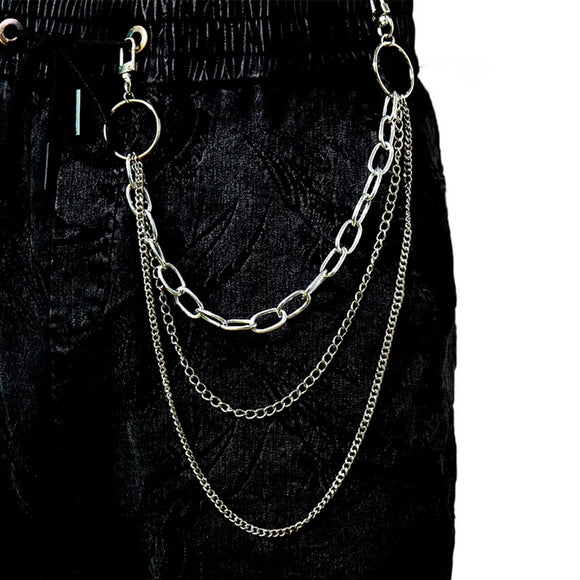 Vintage Long Metal Rock Trousers Hipster Pant Jean Keychain Ring Clip Tassel Keychains Women Accessory