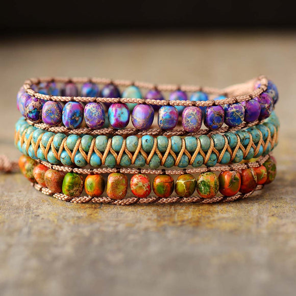 Triple Layer Beaded Wrap Bracelets W/ Natural Stone Jaspers Adjustable Strand Jewelry