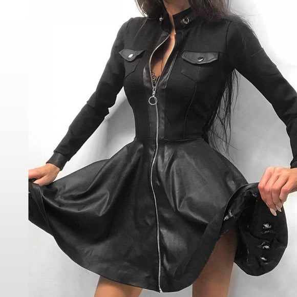 Fashion Women Lace Long Sleeve Zipper Pocket Large Hem Faux Leather Mini Dress