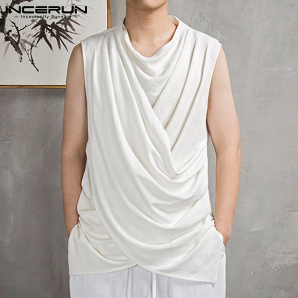 INCERUN Summer Men Irregular Tank Tops Sleeveless O Neck 2020 Cotton Casual Solid Fashion Mens Tee Tops Streetwear Vests S-3XL