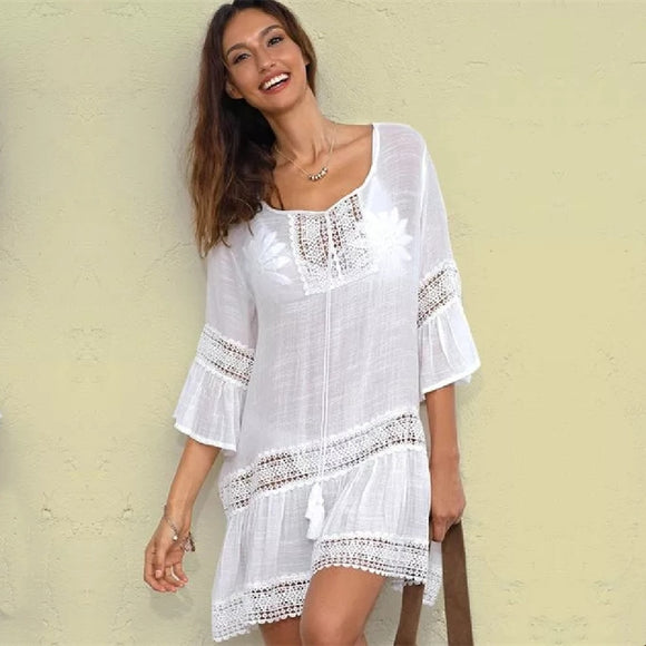 Bamboo Cotton Summer Pareo Beach Cover Up Sexy Swimwear Women Swimsuit Cover Up Kaftan Beach Dress Tunic White Beachwear #Q382