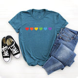 European Clothing Lgbt Love Wins Pride Lesbian Gay Rainbow Color Hearts Shirts Short Sleeved for Women Men Clothing Unisex