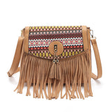 Gykaeo 2020 Vintage Women Messenger Bags For Women's Ethnic Style Tassel Shoulder Bag Ladies Retro Crossbody Bag Bolsa Feminina