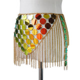 Gradient Mermaid Sequin Body Chain Tassel Crop Top and Skirt