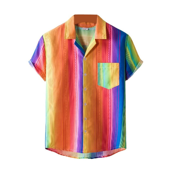 Men's Retro Print Hawaiian Button Down Short Sleeve Shirts Rainbow