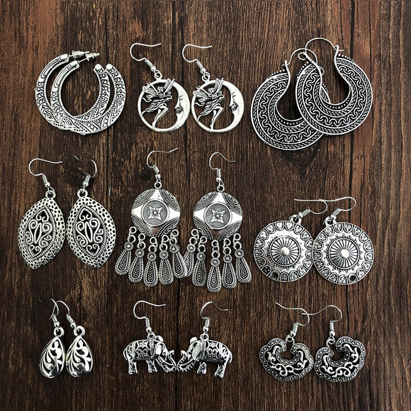 Bohemian Vintage Hollow Out Silver Earrings (8 Styles)