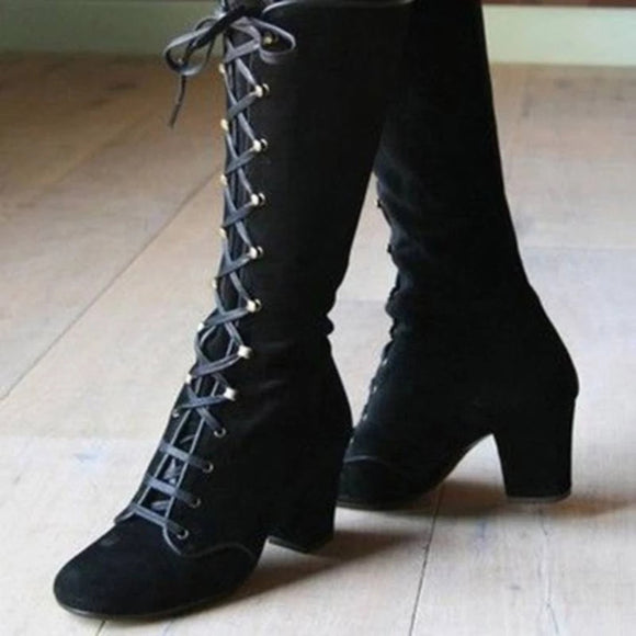 Women's Medieval Gothic Mid Calf Boot Lace Up