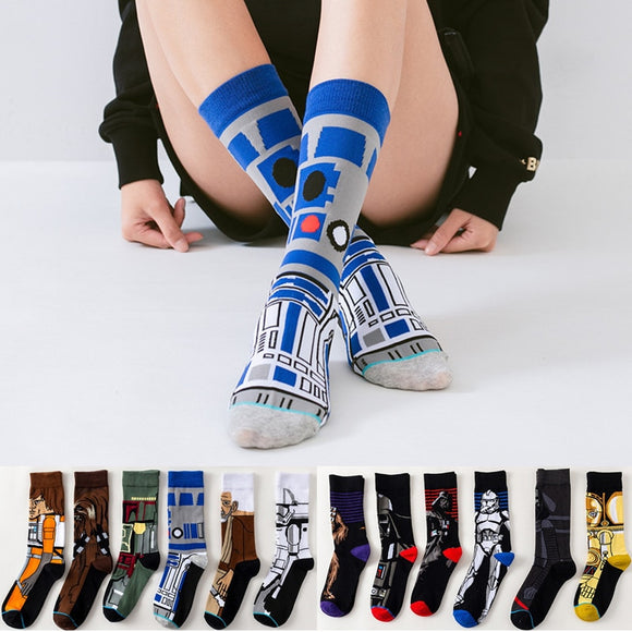 Star Wars Movie socks Master Yoda R2-D2 Cosplay Socks Wookiee Jedi Knight Novelty Men's Women's Socks Spring Autumn Winter