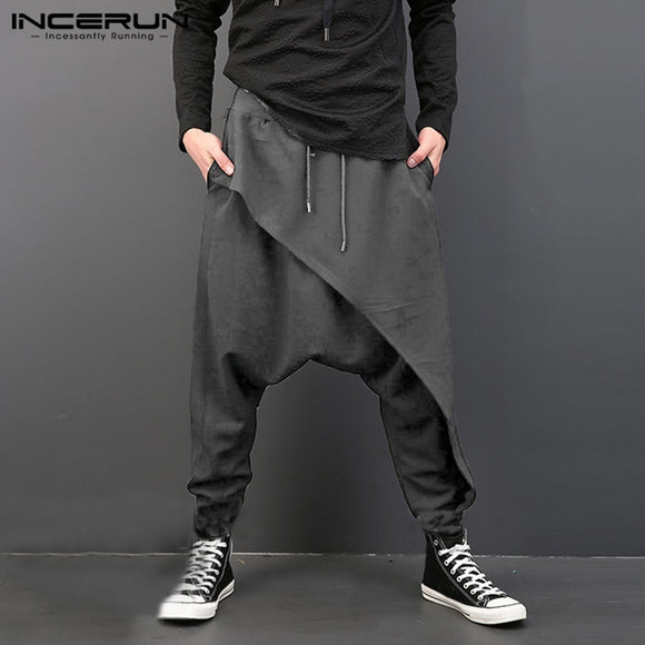 INCERUN Fashion Men Harem Pants Elastic Waist Loose Drop-crotch Trousers Men Streetwear Punk Style Casual Joggers Pants 2020 5XL
