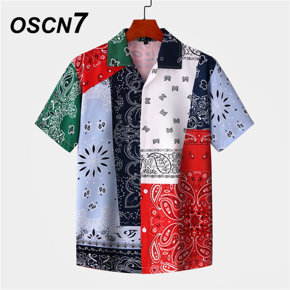 Men Hawaiian Bandanna Patchwork Print Short Sleeve Shirt  Beach Oversize Women Fashion Harujuku Shirts