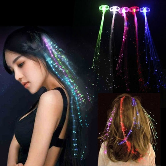 Flashing Barrettes Fiber Optic Hair Assorted Led Invitations Clip Light Up Headwear Hair Braid For Party Girl Dress