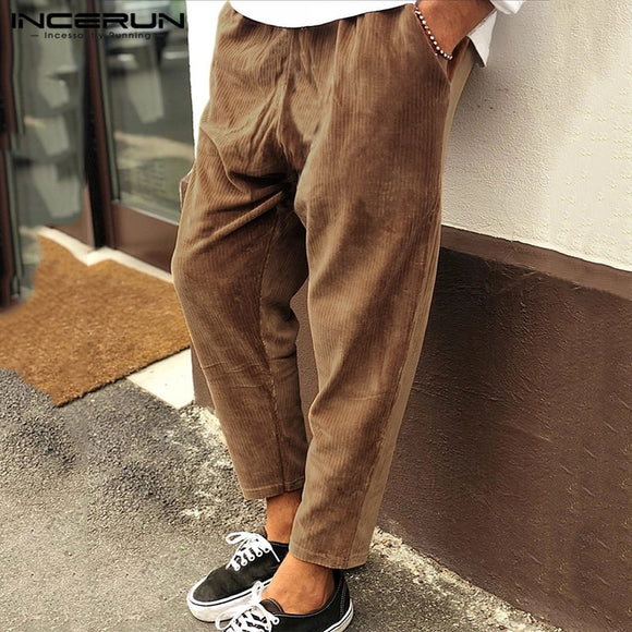INCERUN Winter Men Corduroy Pants Streetwear Joggers Solid 2020 Drawstring Vintage Loose Trousers Men Casual Long Pants S-5XL