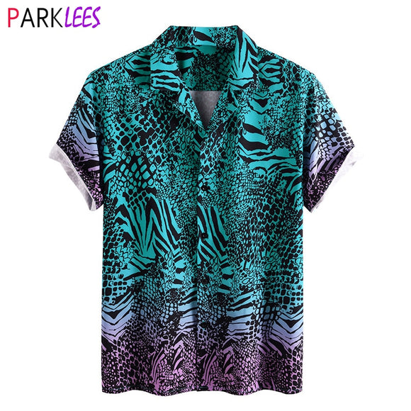 Snake Pattern Print Shirt Men 2020 Stylish New Short Sleeve Button Down Mens Dress Shirts Casual Social Shirt Male Chemise Homme