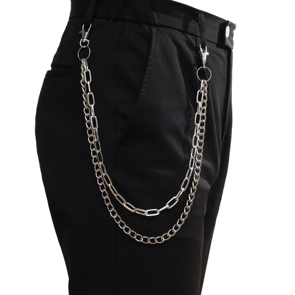 Punk Trousers Chain Keychain for Women Pants Chain Multi Layer Belt Waist chains  Hip Hop Hook hiphop Jewelry