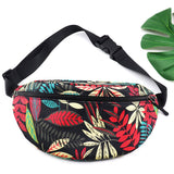Leaf Prints Waist Bag Large Capacity Canvas Fanny Pack with Zipper Female Casual Colorful Travel Banana Bags Grils Money Pocket