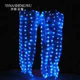 Silk LED Rainbow Dance Long Fans Women Belly Dance Costume Performance Props Belly Dance Chinese Dance LED Fans Accessories