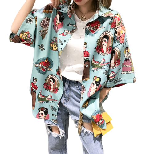 Frida Kahlo Print Button Down Shirt (6 Colors)