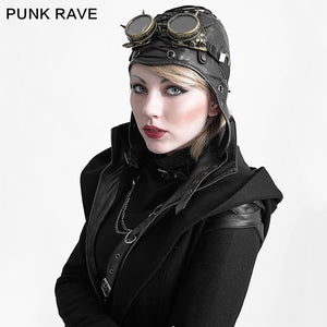 Steampunk Leather Riding Cap
