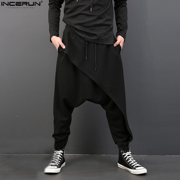 2020 Brand Cool Mens Gothic Punk Style Harem Pants Black Hip-hop Wear Loose  Pants DrawString Baggy Dancing Crotch Trousers