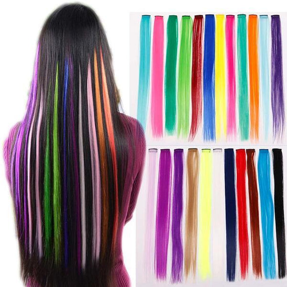 Colorful Hair Extensions Clip On (1 Pcs)