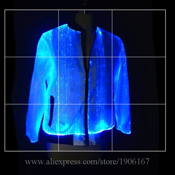 Led Luminous Fiber Optic Party Evening Jacket Colorful Led Light Up Stage Performance Dance Clothes Event Led Illuminated Wears