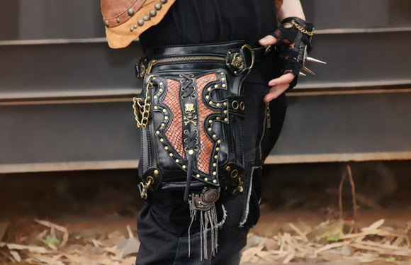 Punk Skull Hip Holster Messenger Bag (Black/Brown)