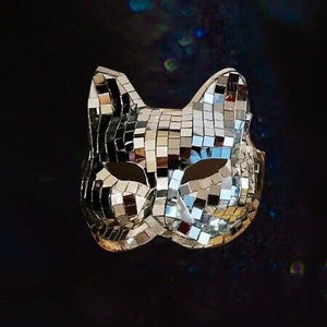 Disco Mirror Full Head Cat Mask