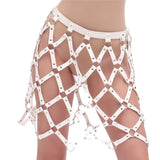 Leather Hollow Out Harness Top/Skirt (White)