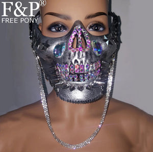 Holographic Riveted Skull Mask (Gold/Silver)