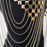 Metallic Checker Dangling Body Chains Top
