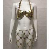 Sequin Hollow Out Halter Top & Skirt