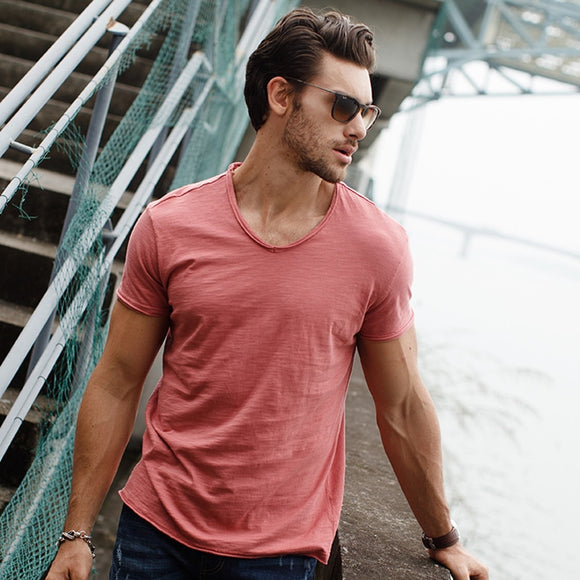 Men's V-neck Slim Fit Cotton T-shirt (9 Colors)