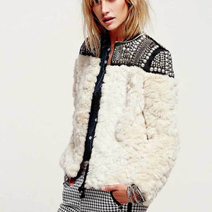 Punk Riveted Fur Jacket