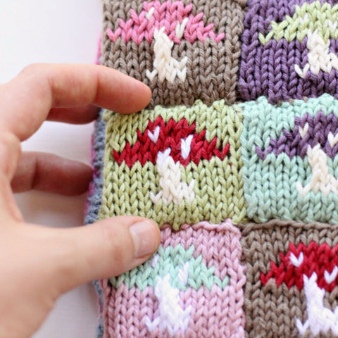 PDF Knitting Pattern - Tiny Mushroom Motif Block - Instant Download