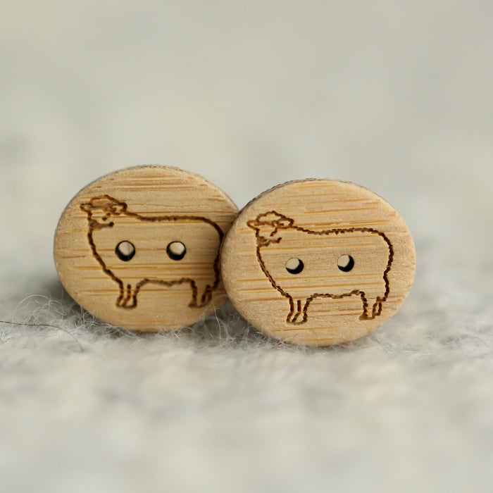 Set of 2 Sheep Buttons - Washable Bamboo