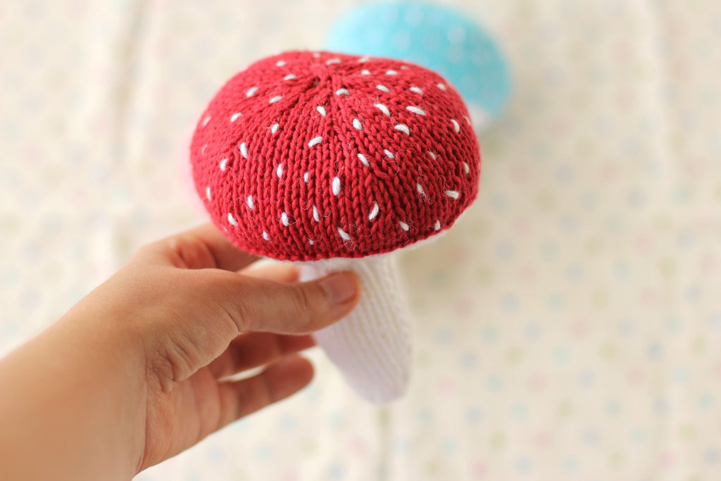 PDF Knitting Pattern - Mushroom Baby Rattle - Instant Download