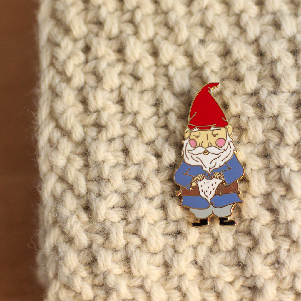 Enamel Pin - Knitting Gnome