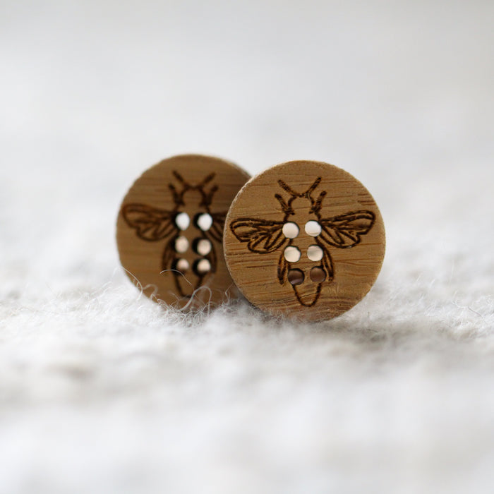 Set of 2 Stitchable Bumble Bee Buttons - Washable Bamboo